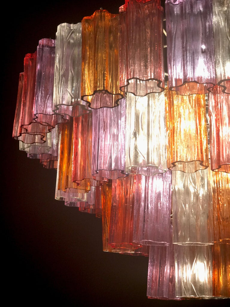 Midcentury Multicolored Murano Glass Tronchi Chandelier by T.Zuccheri for Venini For Sale 3