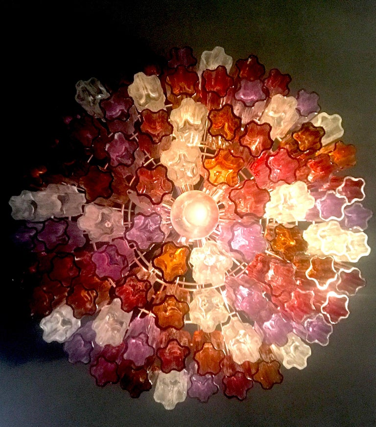 Midcentury Multicolored Murano Glass Tronchi Chandelier by T.Zuccheri for Venini For Sale 5