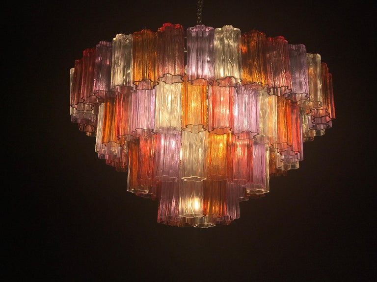 Midcentury Multicolored Murano Glass Tronchi Chandelier by T.Zuccheri for Venini For Sale 6