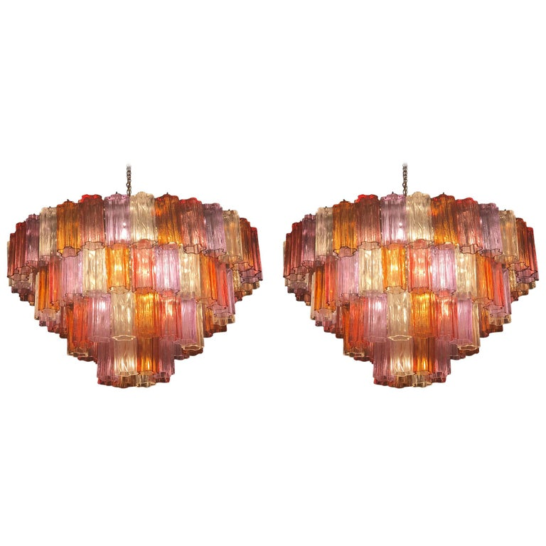 Midcentury Multicolored Murano Glass Tronchi Chandelier by T.Zuccheri for Venini For Sale 7