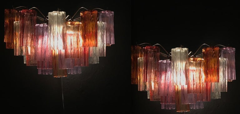 Blown Glass Midcentury Multicolored Murano Glass Tronchi Chandelier by T.Zuccheri for Venini For Sale