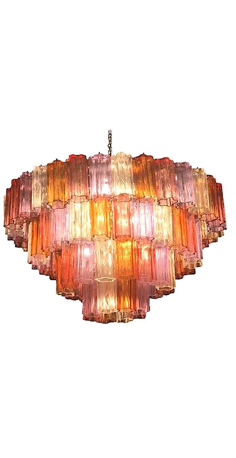 Midcentury Multicolored Murano Glass Tronchi Chandelier by T.Zuccheri for Venini For Sale 1