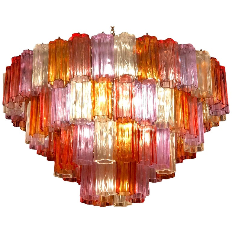 Midcentury Multicolored Murano Glass Tronchi Chandelier by T.Zuccheri for Venini For Sale
