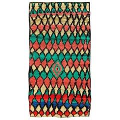 Midcentury Multicolored Tribal Handmade Moroccan Rug