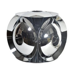 Midcentury Multifaceted Space Age Chromed Metal Table/Desk Light Italian Design