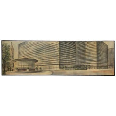 Midcentury Mural Sized Oil Rendering by Richard Bobby