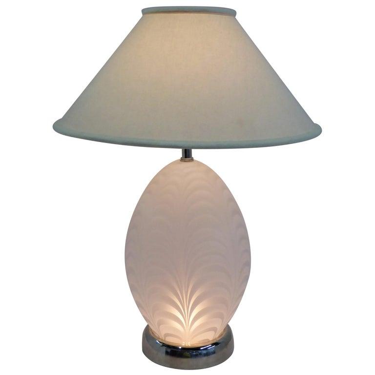 Midcentury Murano Art Glass Lamp with Inner Light For Sale