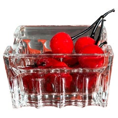 Midcentury Murano Art Glass Summer Cherry in Crystal Basket Set