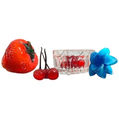 Midcentury Murano Art Glass Summer Strawberry and Cherry in Crystal Basket Set