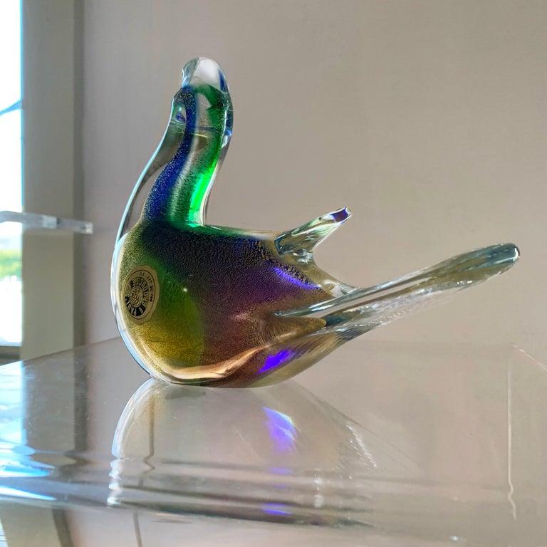 Mid-Century Modern Midcentury Murano Art Glass Turtledove Lovebird 24-Karat Gold Fleck Blue Green For Sale