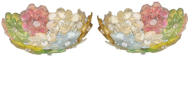 Multi-color, pink, gold, green, grey/blue. flush fixture is made of dozens of small blossoms in precious Murano glass with gold inclusions. Gorgeous work that can be totally midcentury and vintage in some environments and in others, whimsical and