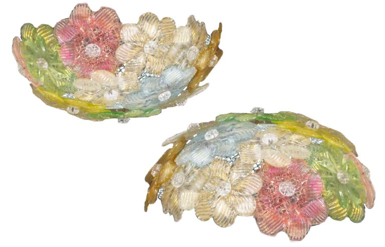 Midcentury Murano Barovier & Toso Flowers Flush Light Fixture, Ceiling, 1950s In Good Condition In Brooklyn, NY