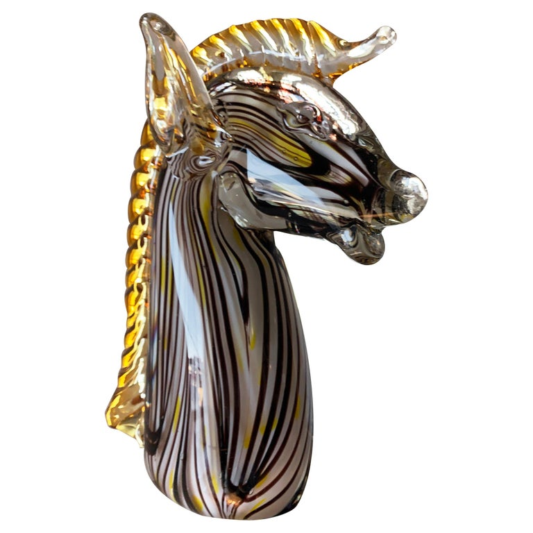 Midcentury Murano Blown Art Glass Horse Sculpture, Cenedese Sumerso, Opaline For Sale