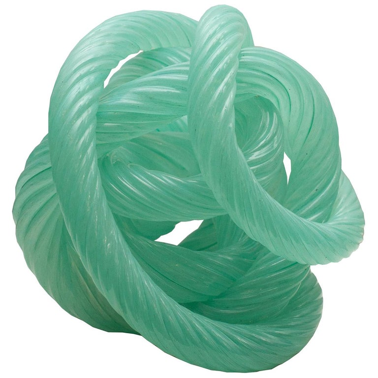 Midcentury Murano Blue Green Glass Cane Rope Sculpture