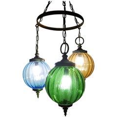 Midcentury Murano Blue Yellow Green Blown Glass Globes Lanterns Chandelier