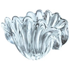 Midcentury Murano Clear Leaded Art Glass Crystal Shell Bowl Centrepiece, Formia