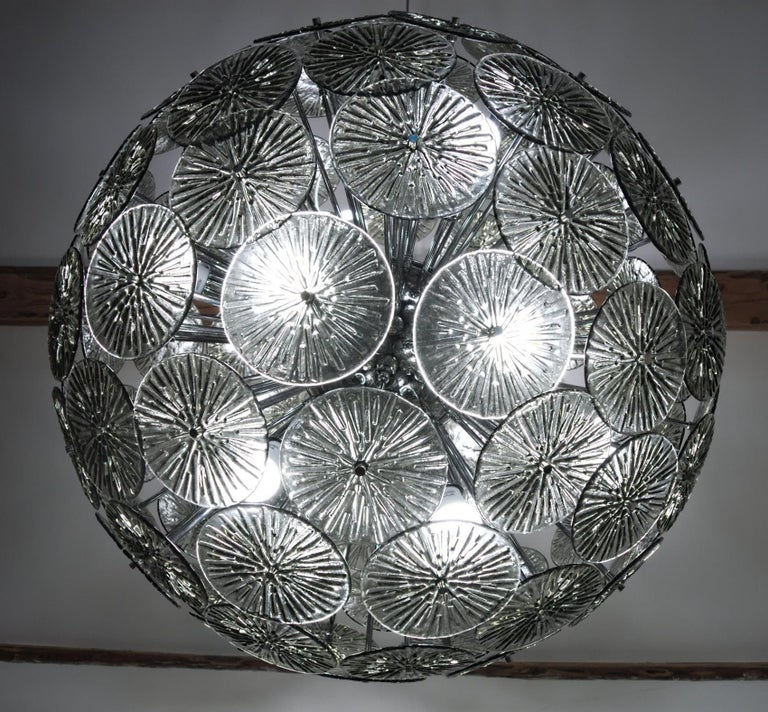 Midcentury Murano Dandelion Sputnik Chandelier Gray Glass Discs Chrome Hardware For Sale 3