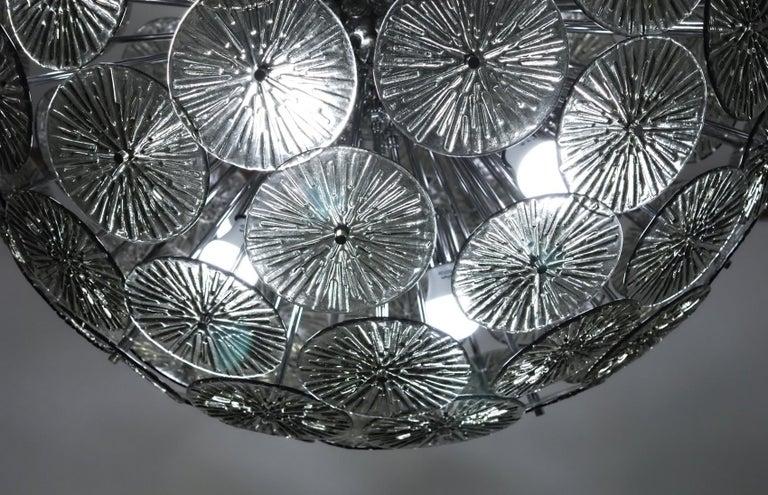 Midcentury Murano Dandelion Sputnik Chandelier Gray Glass Discs Chrome Hardware For Sale 4
