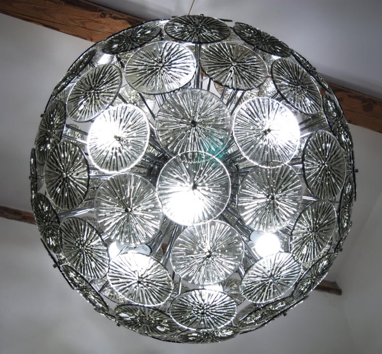 Midcentury Murano Dandelion Sputnik Chandelier Gray Glass Discs Chrome Hardware For Sale 6