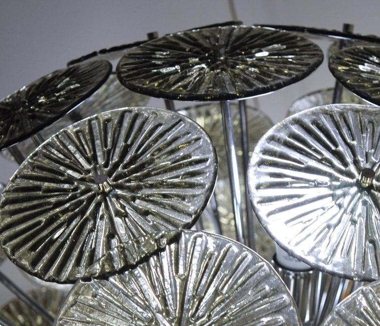 Midcentury Murano Dandelion Sputnik Chandelier Gray Glass Discs Chrome Hardware For Sale 7