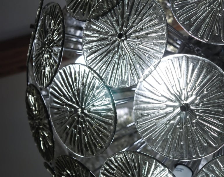 Midcentury Murano Dandelion Sputnik Chandelier Gray Glass Discs Chrome Hardware For Sale 9