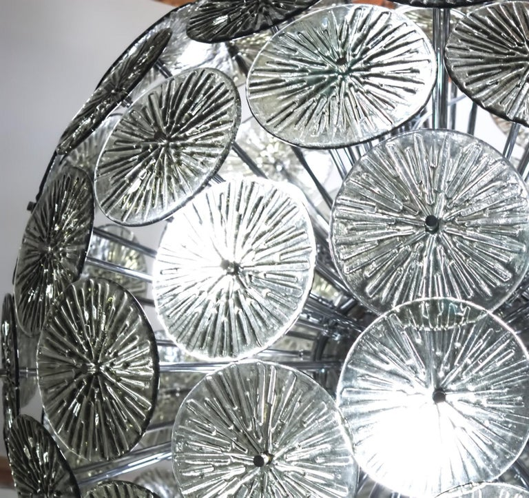Midcentury Murano Dandelion Sputnik Chandelier Gray Glass Discs Chrome Hardware For Sale 10