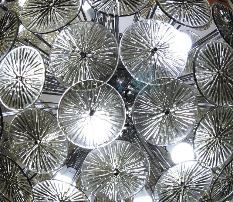 Midcentury Murano Dandelion Sputnik Chandelier Gray Glass Discs Chrome Hardware For Sale 11
