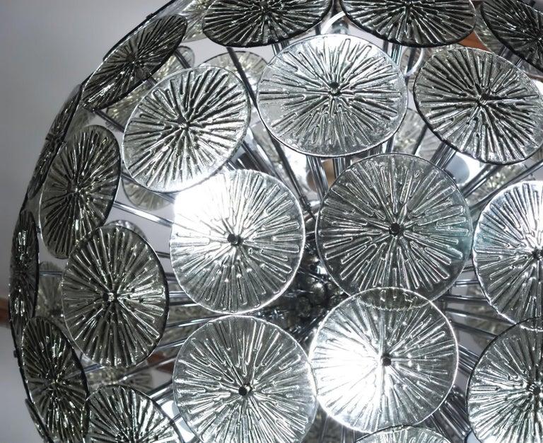 Mid-Century Modern Midcentury Murano Dandelion Sputnik Chandelier Gray Glass Discs Chrome Hardware For Sale