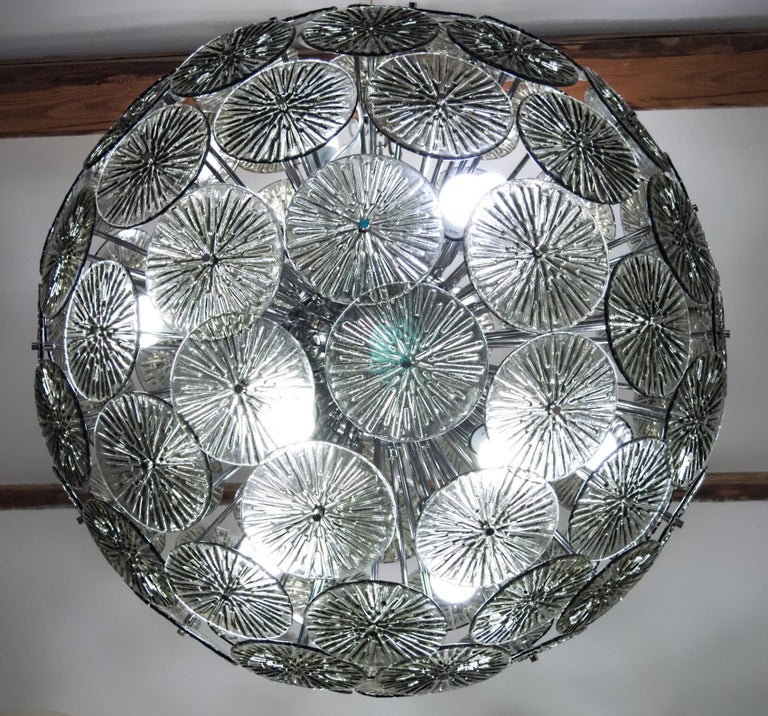 Italian Midcentury Murano Dandelion Sputnik Chandelier Gray Glass Discs Chrome Hardware For Sale