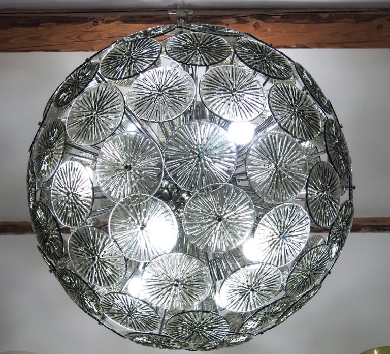 20th Century Midcentury Murano Dandelion Sputnik Chandelier Gray Glass Discs Chrome Hardware For Sale