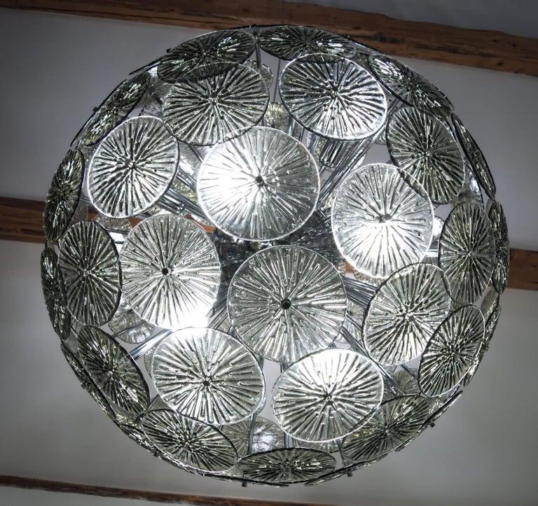 Midcentury Murano Dandelion Sputnik Chandelier Gray Glass Discs Chrome Hardware For Sale 1