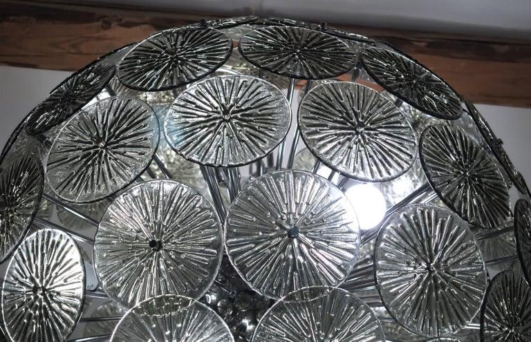 Midcentury Murano Dandelion Sputnik Chandelier Gray Glass Discs Chrome Hardware For Sale 2