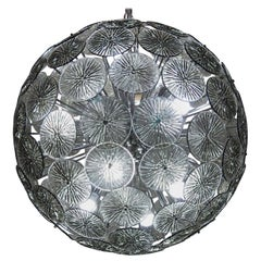 Midcentury Murano Dandelion Sputnik Chandelier Gray Glass Discs Chrome Hardware
