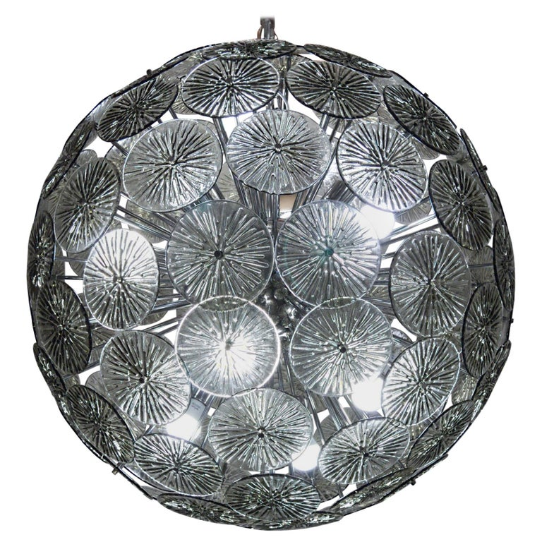 Midcentury Murano Dandelion Sputnik Chandelier Gray Glass Discs Chrome Hardware For Sale