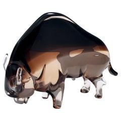 Midcentury Murano Glass American Buffalo Ascribable to Seguso, Italy