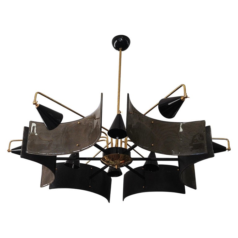 Midcentury Murano Glass and Brass Chandelier, 1980 For Sale