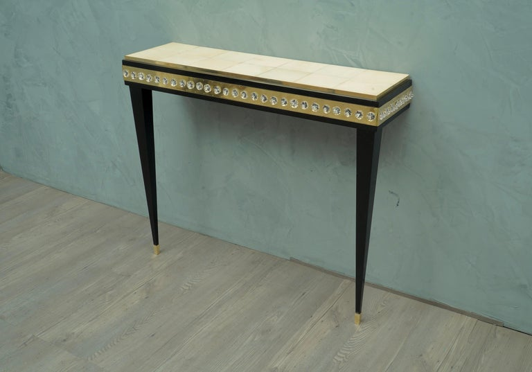 Midcentury Murano Glass Brass and Goatskin Console Table, 1950 For Sale 4