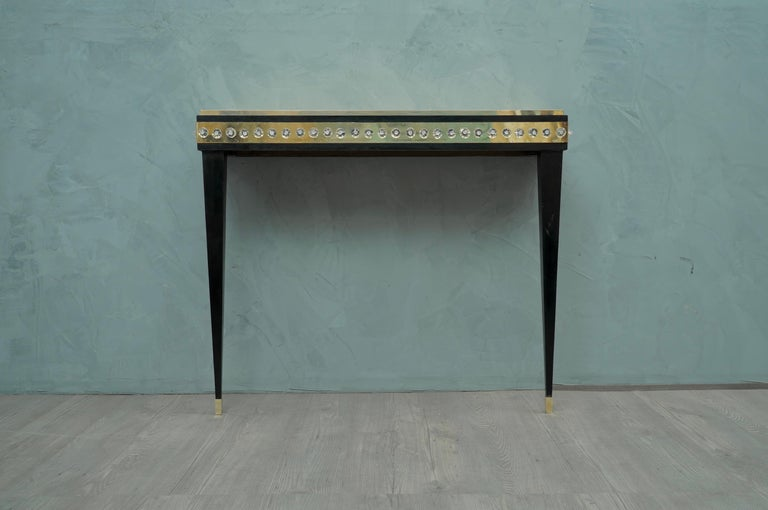 Mid-Century Modern Midcentury Murano Glass Brass and Goatskin Console Table, 1950 For Sale