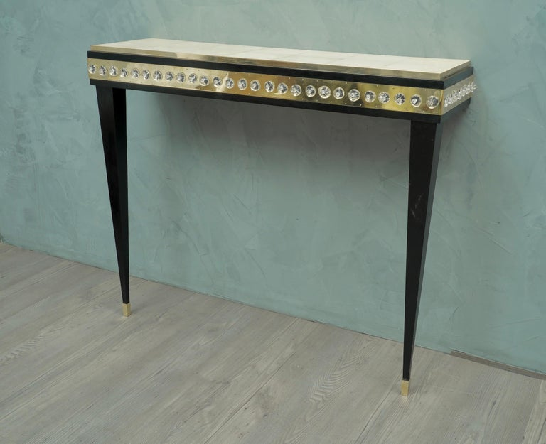 Midcentury Murano Glass Brass and Goatskin Console Table, 1950 In Excellent Condition For Sale In Rome, IT