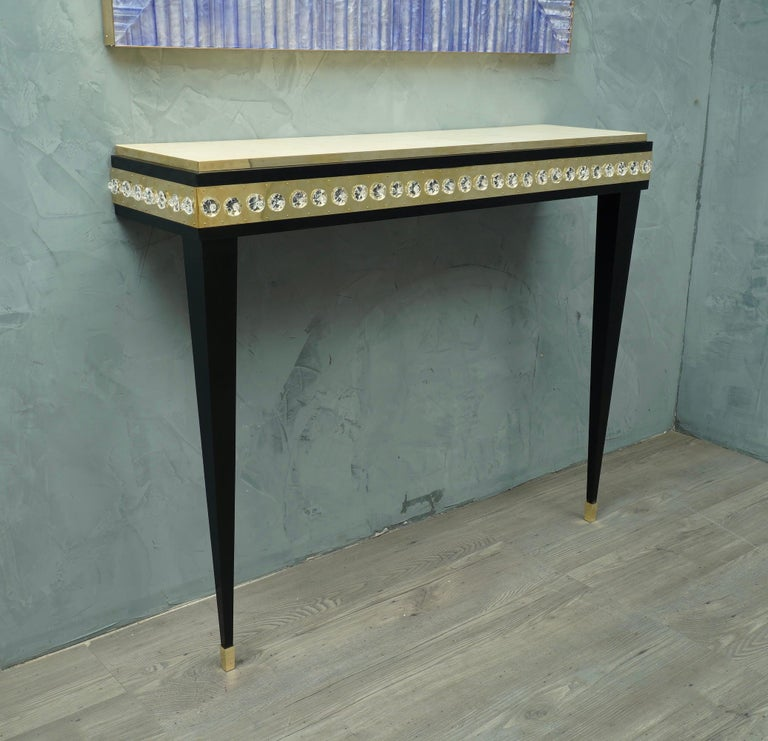 Mid-20th Century Midcentury Murano Glass Brass and Goatskin Console Table, 1950 For Sale