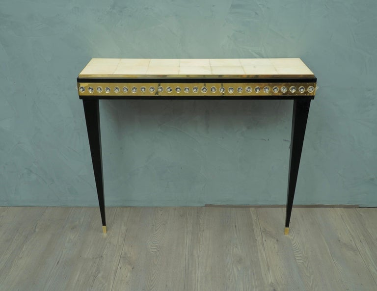 Midcentury Murano Glass Brass and Goatskin Console Table, 1950 For Sale 1