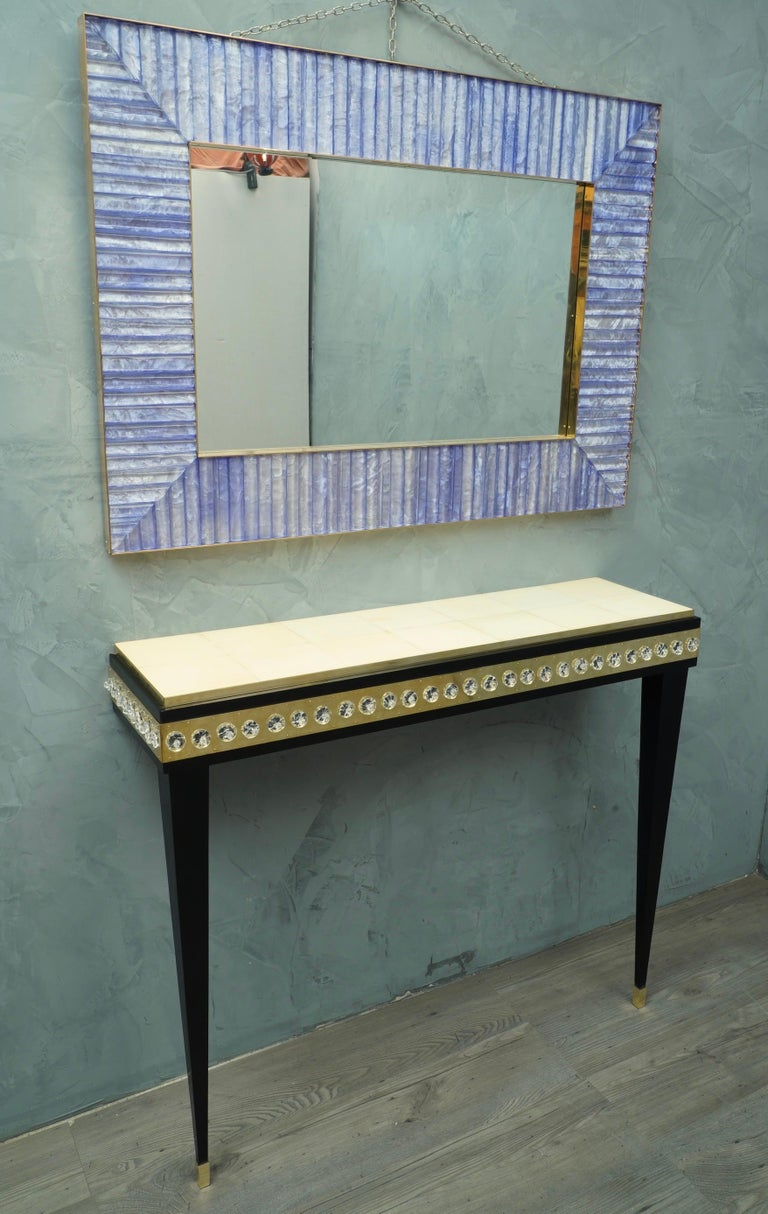 Midcentury Murano Glass Brass and Goatskin Console Table, 1950 For Sale 2