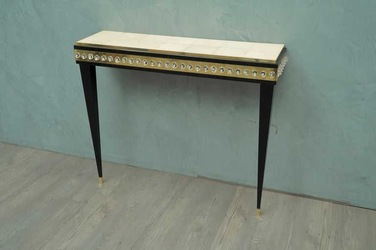 Midcentury Murano Glass Brass and Goatskin Console Table, 1950 For Sale 3