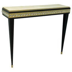 Midcentury Murano Glass Brass and Goatskin Console Table, 1950