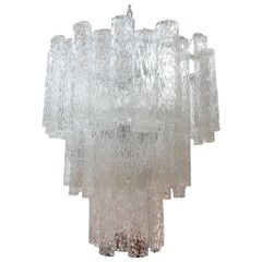 Midcentury Murano Glass Chandelier, Venini Style