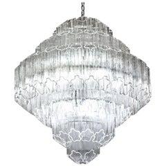 Midcentury Murano Glass Clear Tronchi Angle Cut Chandelier Zuccheri Venini 1980s