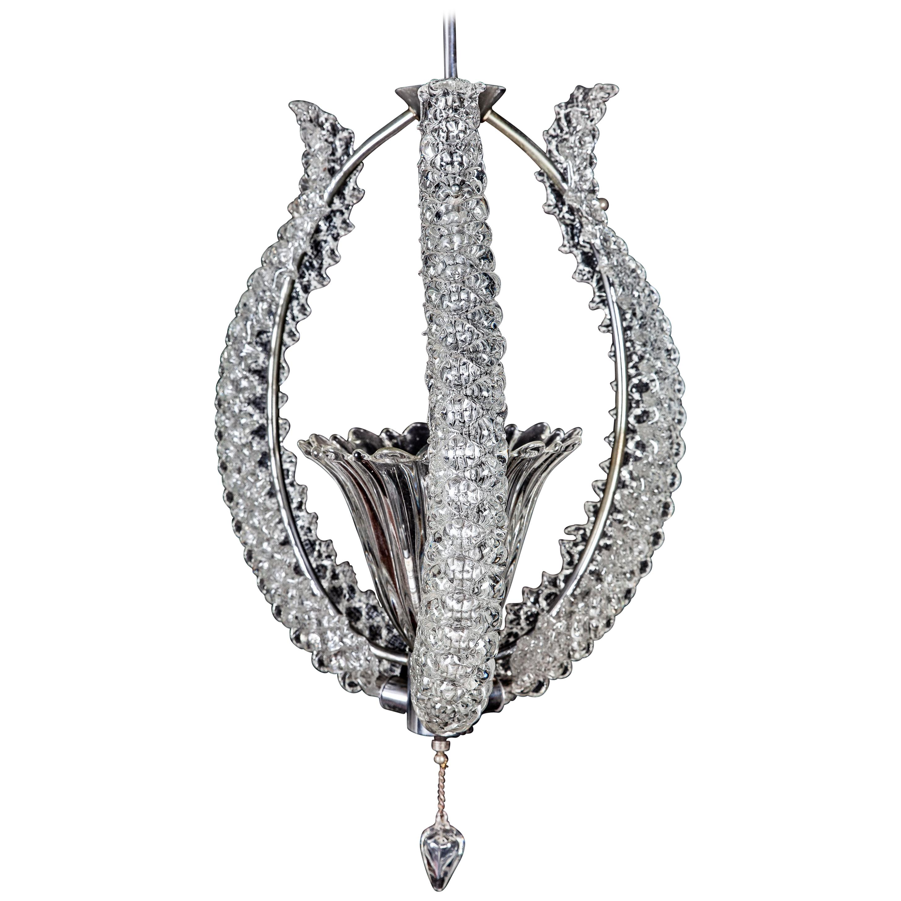 Midcentury Murano Glass Elegant Chandelier by Ercole Barovier, 1940s