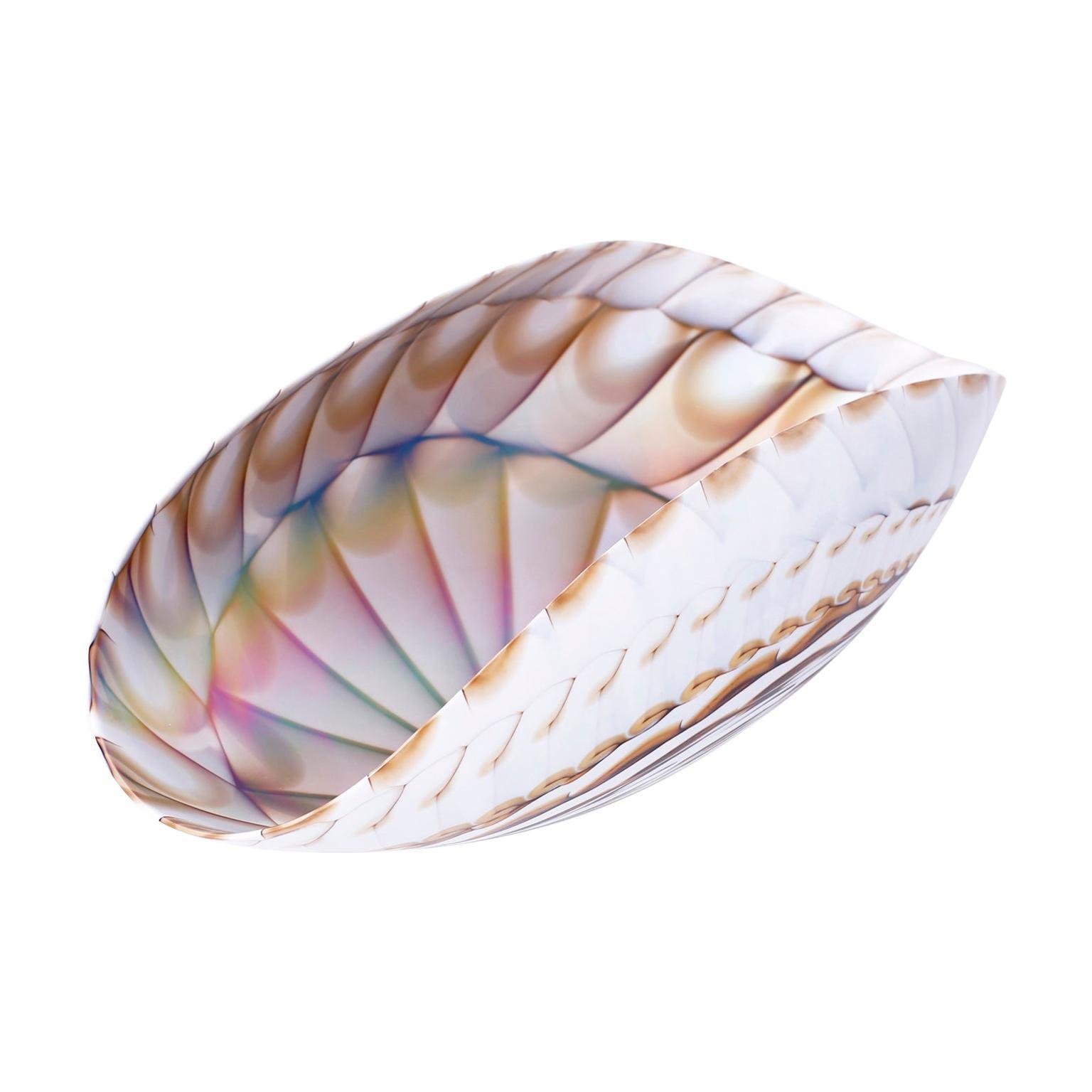 Midcentury Murano Glass Sea Shell Bowl by Furnace Ferro