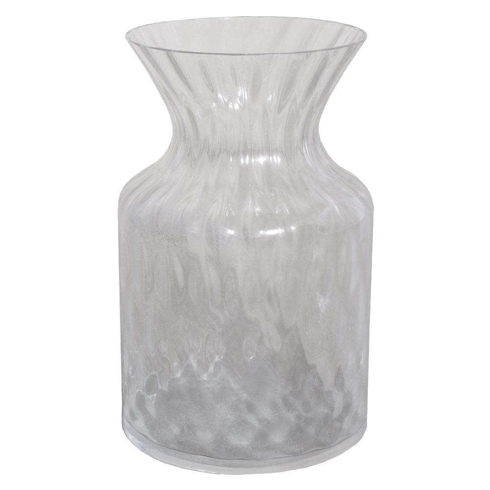 Midcentury Murano Glass Transparent Vase Signed Barovier, with Rhomboid Design