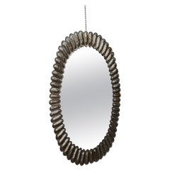 Midcentury Murano Oval Silver Art Glass and Brass Italian Wall Mirror, 1950